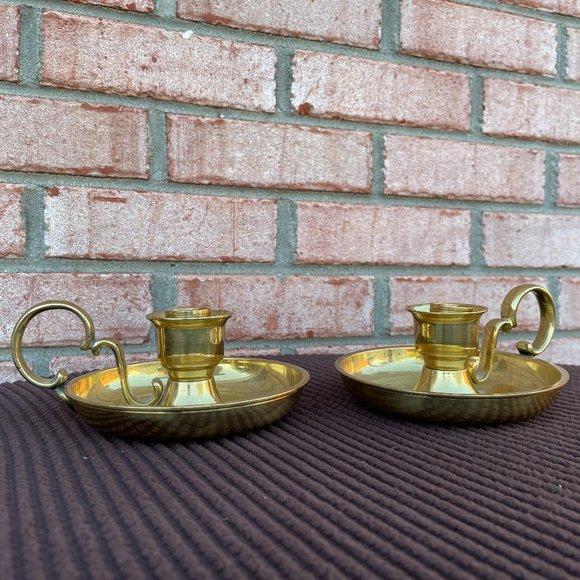Vintage Solid Brass Chamberstick Candleholders Set
